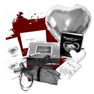 Trauerbox - Inhalte - Begleitbuch Tagebuch Grußkarte Permanent Marker Stift Trauerherz Lichttüten Teelicht Ballon Organzabeutel